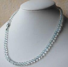 Edelsteinkette Echt Blau Topaz 5mm Perlen Collier 42cm Halskette  True Gems