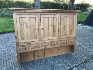 Vintage Solid Pine Glazed Welsh Dresser Top Kitchen Wall Cupboards