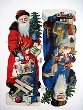 Antique Vintage Die-Cut Scrap of Two Santa's w/ Christmas Trees & Toys Germany*