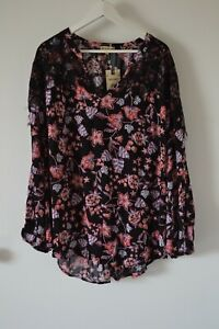 $74 NWT Democracy Boho Peasant Chic Top Blouse Floral Tunic Rayon Plus Size 2X