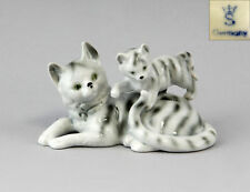 9943095 Porcelain Figurine Gräfenthal Katzen-Gruppe Mackerel Tabby Cat H8cm