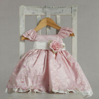 Stunning Pink Ivory Embroidered Flower Girl Party Dress, Crayon Kids USA