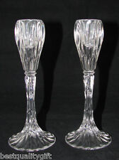 NEW-2 PC PAIR ELEGANT CLEAR,WHITE CRYSTAL CUT TAPER CANDLE STICKS,HOLDERS