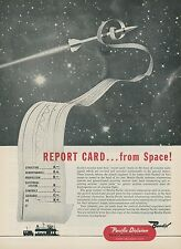 1952 Bendix Aviation Ad Radio Report Card for Guided Missiles in Space Pilotless