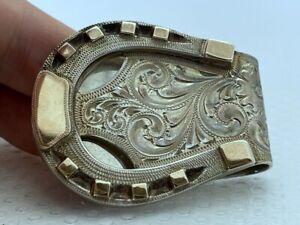 Vintage Edward H Bohlin Horseshoe Money Clip 925 Sterling Silver 14K Solid Gold