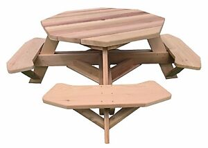 """49"""" Octagon Top Western Red Cedar Picnic Table with Easy Seating"""