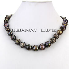 """18"""" 11-13mm Brown With Black Wave Baroque Freshwater Mother of Pearl Necklace UE"""