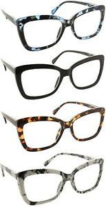 Reading Glasses Clear Lens Cateye Large Spring Hinge Readers for Women