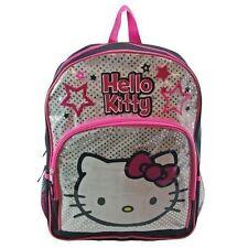"Backpack 16"" Sanrio Hello Kitty Black Pink Silver Glitter Stars NEW"