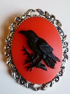 Gothic Raven Brooch, Black Crow Red Cameo Brooch Halloween Pin