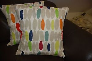 TWO LAURA ASHLEY HANDMADE CUSHION COVERS IN WALLACE NATURAL/MULTI