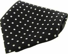 David Van Hagen Mens Polka Dot Silk Twill Pocket Square - Black/White