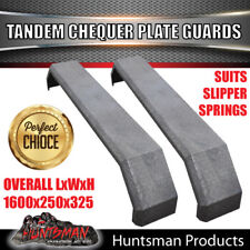 Pair 250mm Tandem Trailer Mudguards Chequer Plate Suited Slipper Springs 2.5mm