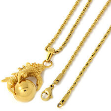 """Women's Gold Tone Stainless Steel Eagle Claw Pendant 2mm 20"""" Rope Necklace Chain"""