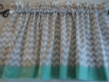 Gray and White Chevron Valance with Mint Border or Choose Border Color