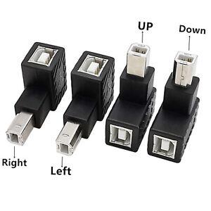 Angle 90°USB 2.0 Type B Male to USB B Female Adapter Printer Scanner Converter