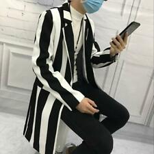 NEW Men fashion trench coat striped lapel club jacket hairstylist overcoat M-3XL