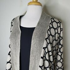 Chicos 2 Geometric Two Piece Linen Cardigan Sweater Tank Top Set