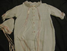New Infant Outfit by Joy Ful Lee White Knit Bunting with Hat LOOK!