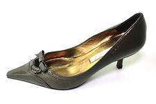PURA LOPEZ Lack Pumps Kitten Heels oliv 37 UK 4 spitz Schleife Stilettos Leder
