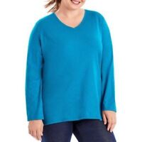 JUST MY SIZE Womens Plus Size Long Sleeve Shirt Top, 4X, 26W 28W, V Neck, Teal