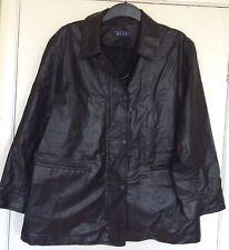 Taglia 16, STRENESSE blu, nero in finta pelle giacca/cappotto, Taglie Forti, pre-AMATA