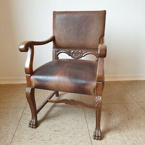 Antiker/Alter Sessel/Stuhl, massive Eiche & Leder