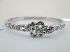 NWT Auth Betsey Johnson Green Snake Serpent Silvertone Hinged Bangle Bracelet