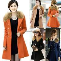 Ladies Women's Winter Coat Long Wool Jacket Fur Collar Slim Outwear Trench coat