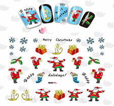 Nail Art Stickers Water Decals Transfers Santa Christmas Holly (BLE2326)