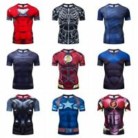 Superhero 3D Marvel T-shirts Compression Sports Fitness Short Sleeve Men Tops