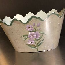 VTG Metal Storage Container Hand Painted Mail Holder Spring Decor Silver Purple