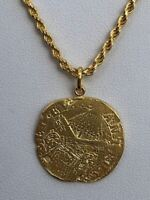 14k Gold Over Real Solid 925 Silver Ancient Roman Coin Pendant Mens Womens Chain