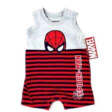 Marvel Baby Boy Spiderman Bodysuit Sz 3-6 Mo Red Blue Grey Sleeveless Embroidery