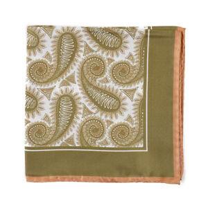 New CESARE ATTOLINI Olive Green Paisley Print Silk Pocket Square
