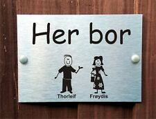 Norwegian Grandma & Grandad Door Plaque Personalised Stick Family House Name