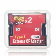 MicroSD X 2 to CF Memory Card CompactFlash MicroSDXC Extreme Adapter Up to 512GB