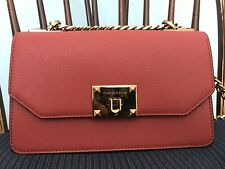 Charles & Keith Brick Gold Chain Leather Womens Evening Handbag Shoulder Bag New