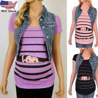 Women Maternity Cartoon Striped Blouse Short Sleeve Shirt Pregnancy Top Clothes