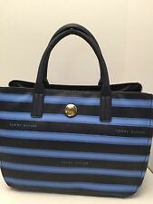 TOMMY HILFIGER Woman's Handbag *Navy Blue Stripe w/Gold Satchel Tote Purse  $89