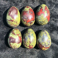 2PCS-Natural Dragon Blood Stone Quartz Crystal Carving Dragon Egg Reiki Healing