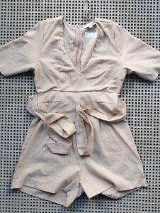 ❤️ MOOLOOLA Short Sleeve Belted Romper Beige Striped Size 10 Buy7=FreePost L846