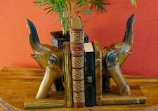 Bookends Elephant Solid Acacia Wood Buchhalterung Support Elephants Decoration