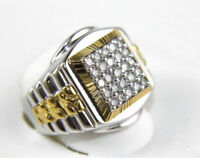 1.00ct Round Cut Diamond Cluster Mens Wedding Band Ring 14k Two Tone Gold Finish