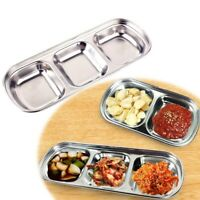 UK NEW Stainless Steel Divided Seasoning Dish Snack Dinner Plate Dip Sauce Tray