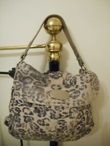 Mulberry Hayden Smudge Leather Leopard Print Black White Shoulder Bag