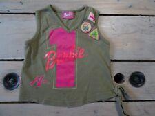 T-shirt débardeur col V vert kaki sans manches imprimé n°1 BARBIE Taille 5 ans