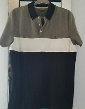 "GABICCI MOD  All Cotton Polo Shirt - Black Cream & Beige-  P2P 21""  Large - NWOT"