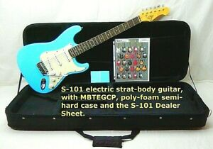 BLUE Electric Guitar, Polyfoam CASE, S101 Strat Style Body,3 single coil pickups