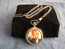 PRESIDENT DONALD TRUMP CHROME POCKET WATCH WITH CHAIN (NEW)